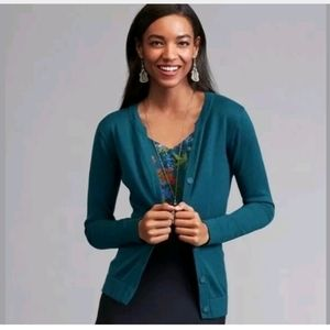 Cabi Small Ever Cardigan Teal Sweater
